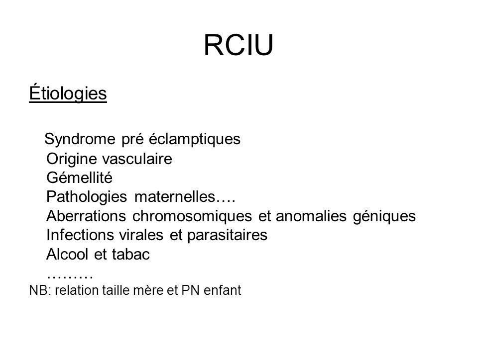 RCIU Étiologies Syndrome pré éclamptiques Origine vasculaire Gémellité Pathologies maternelles…. Aberrations chromosomiques et anomalies géniques Infe
