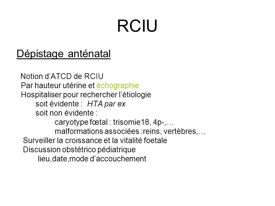 RCIU Dépistage anténatal Notion dATCD de RCIU Par hauteur utérine et échographie Hospitaliser pour rechercher létiologie soit évidente : HTA par ex so