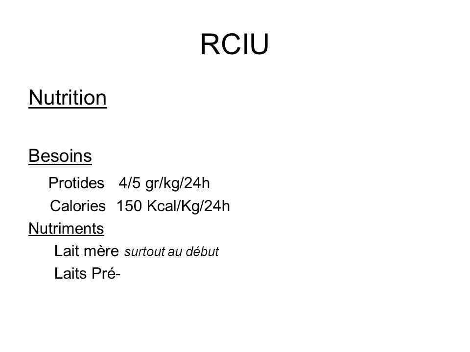 RCIU Nutrition Besoins Protides 4/5 gr/kg/24h Calories 150 Kcal/Kg/24h Nutriments Lait mère surtout au début Laits Pré-