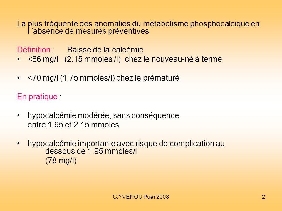 C.YVENOU Puer 20082 La plus fréquente des anomalies du métabolisme phosphocalcique en l absence de mesures préventives Définition : Baisse de la calcé