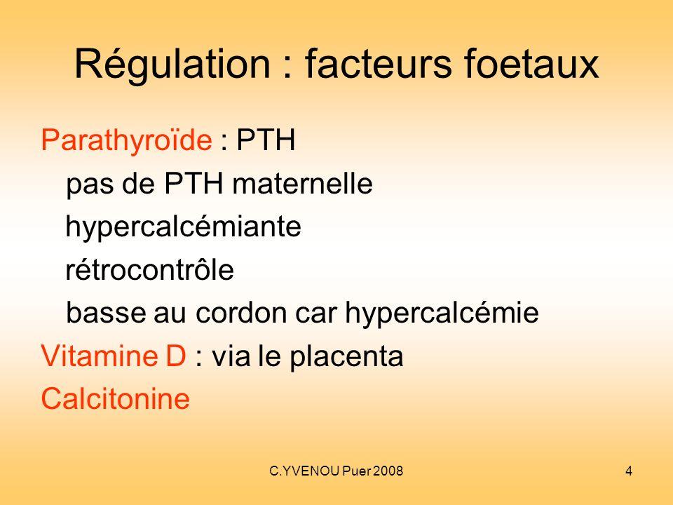 C.YVENOU Puer 20084 Régulation : facteurs foetaux Parathyroïde : PTH pas de PTH maternelle hypercalcémiante rétrocontrôle basse au cordon car hypercal