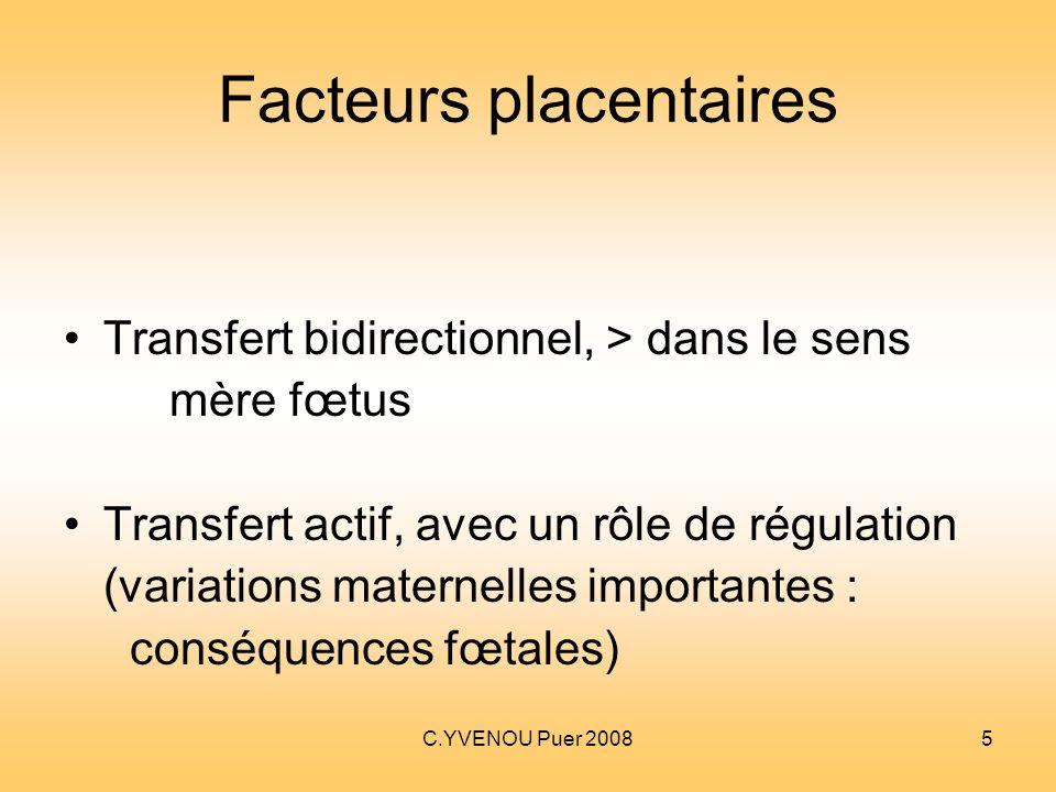 C.YVENOU Puer 20085 Facteurs placentaires Transfert bidirectionnel, > dans le sens mère fœtus Transfert actif, avec un rôle de régulation (variations