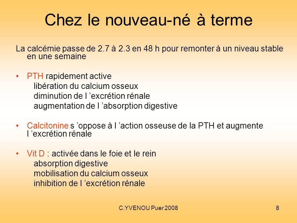 C.YVENOU Puer 20088 Chez le nouveau-né à terme La calcémie passe de 2.7 à 2.3 en 48 h pour remonter à un niveau stable en une semaine PTH rapidement a