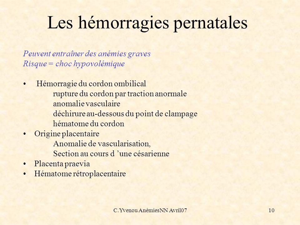 C.Yvenou AnémiesNN Avril0710 Les hémorragies pernatales Peuvent entraîner des anémies graves Risque = choc hypovolémique Hémorragie du cordon ombilica