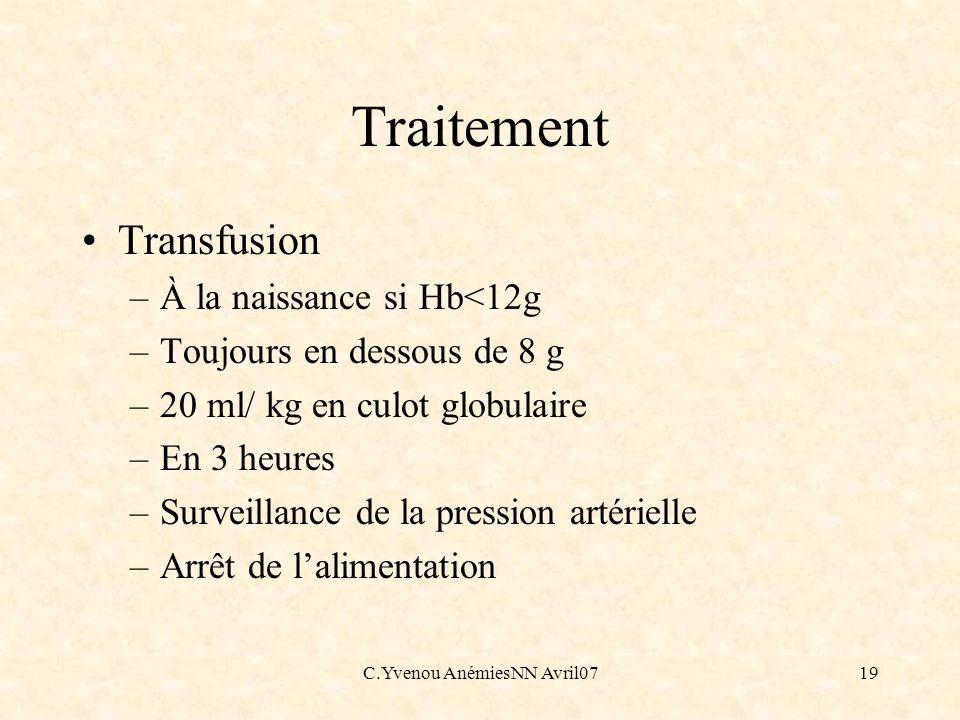 C.Yvenou AnémiesNN Avril0719 Traitement Transfusion –À la naissance si Hb<12g –Toujours en dessous de 8 g –20 ml/ kg en culot globulaire –En 3 heures