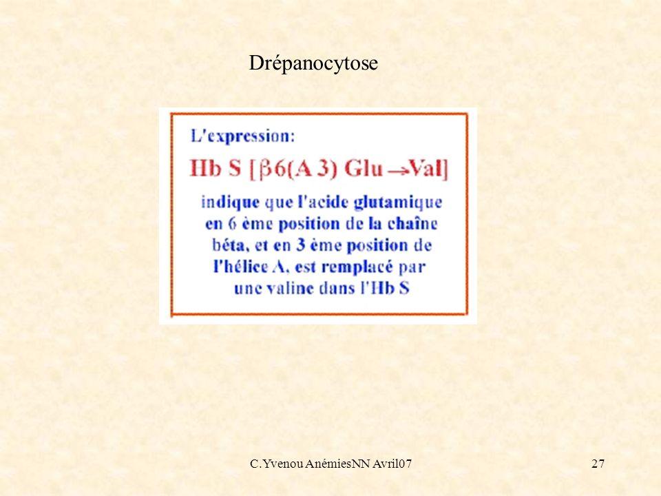 C.Yvenou AnémiesNN Avril0727 Drépanocytose