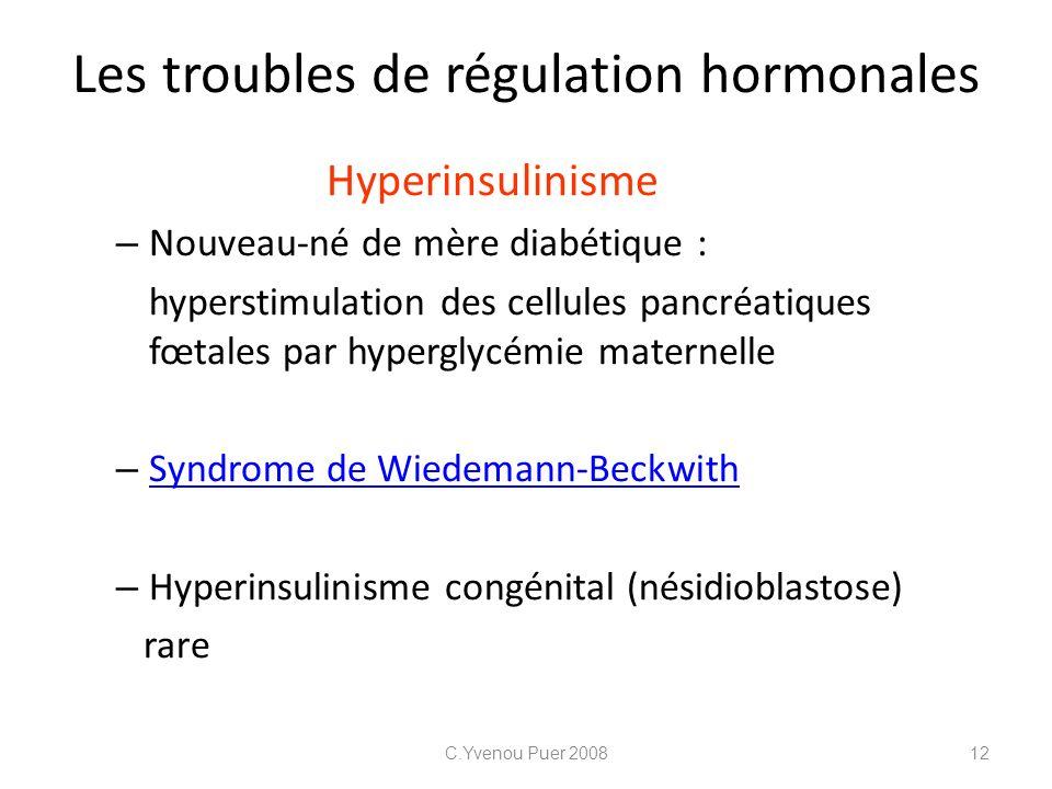 Les troubles de régulation hormonales Hyperinsulinisme – Nouveau-né de mère diabétique : hyperstimulation des cellules pancréatiques fœtales par hyper