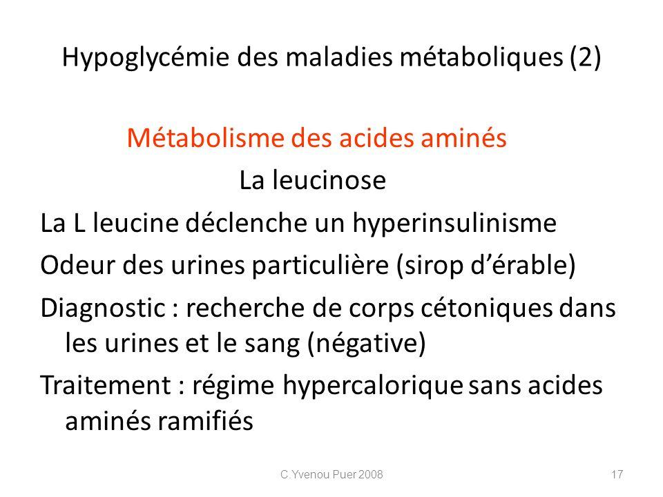 Hypoglycémie des maladies métaboliques (2) Métabolisme des acides aminés La leucinose La L leucine déclenche un hyperinsulinisme Odeur des urines part