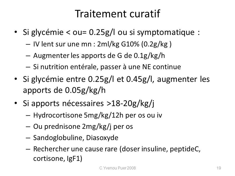 Traitement curatif Si glycémie < ou= 0.25g/l ou si symptomatique : – IV lent sur une mn : 2ml/kg G10% (0.2g/kg ) – Augmenter les apports de G de 0.1g/