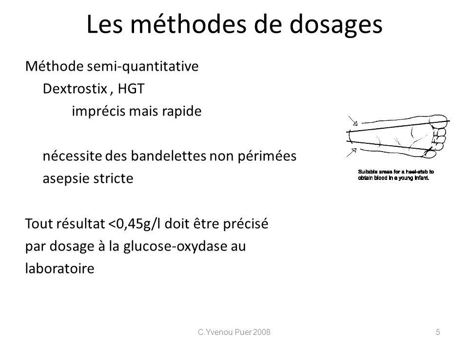 Les méthodes de dosages Méthode semi-quantitative Dextrostix, HGT imprécis mais rapide nécessite des bandelettes non périmées asepsie stricte Tout rés