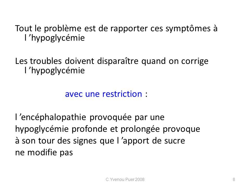 Tout le problème est de rapporter ces symptômes à l hypoglycémie Les troubles doivent disparaître quand on corrige l hypoglycémie avec une restriction