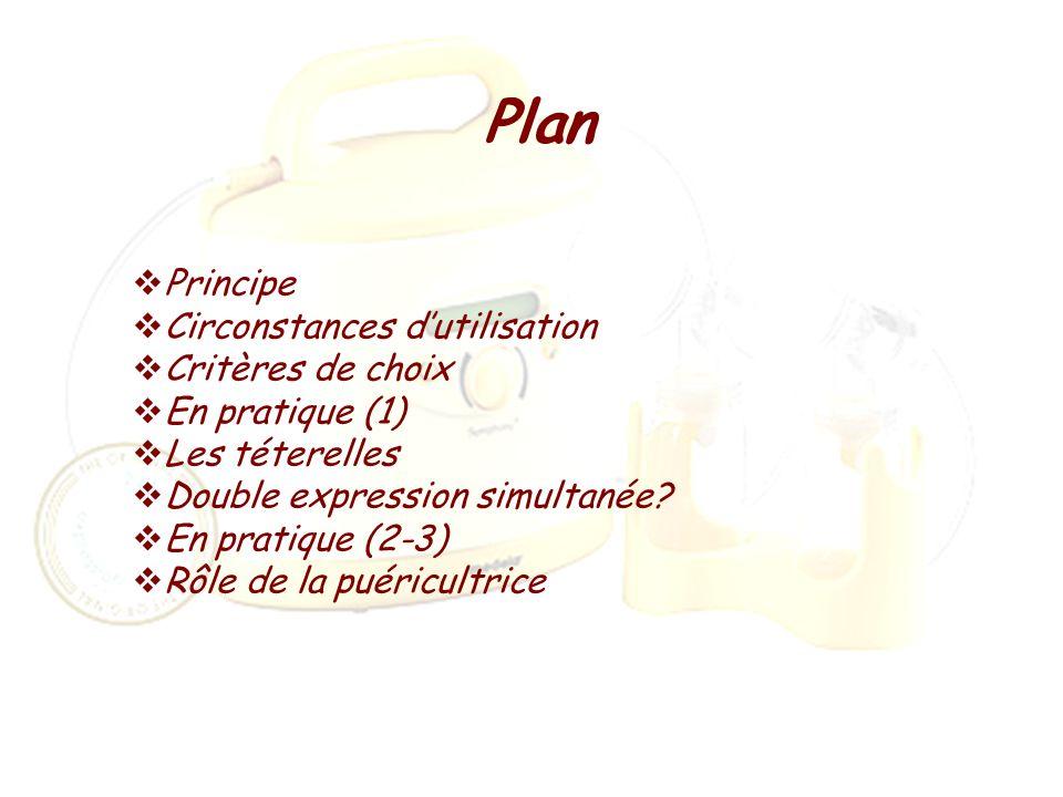 Plan Principe Circonstances dutilisation Critères de choix En pratique (1) Les téterelles Double expression simultanée? En pratique (2-3) Rôle de la p