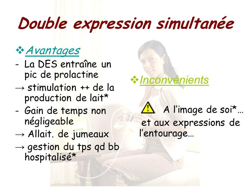 Double expression simultanée Avantages -La DES entraîne un pic de prolactine stimulation ++ de la production de lait* -Gain de temps non négligeable A