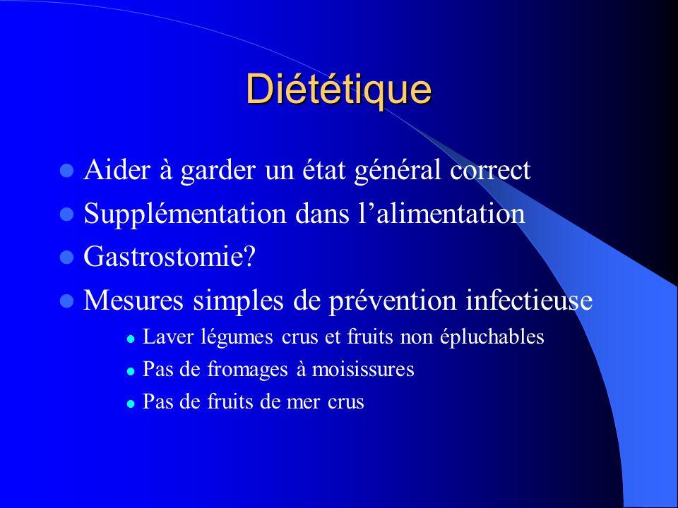 Diététique Aider à garder un état général correct Supplémentation dans lalimentation Gastrostomie? Mesures simples de prévention infectieuse Laver lég