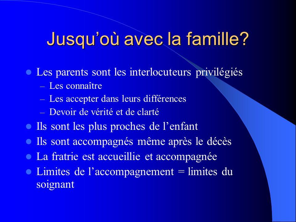 Jusquoù avec la famille? Les parents sont les interlocuteurs privilégiés – Les connaître – Les accepter dans leurs différences – Devoir de vérité et d