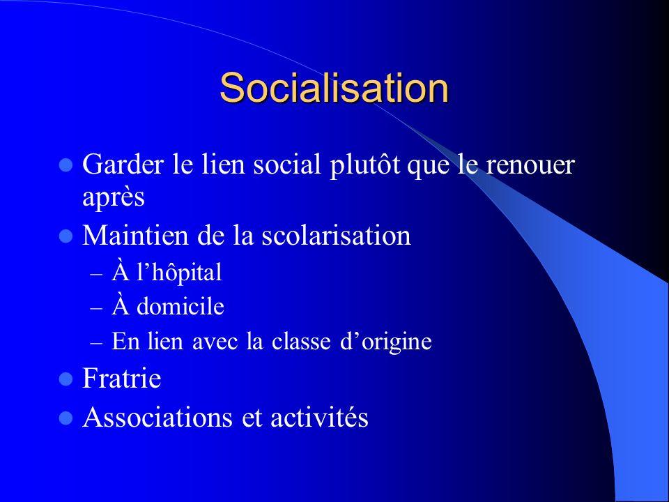 Socialisation Garder le lien social plutôt que le renouer après Maintien de la scolarisation – À lhôpital – À domicile – En lien avec la classe dorigine Fratrie Associations et activités
