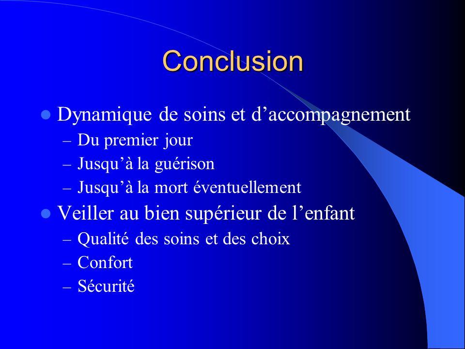 Conclusion Dynamique de soins et daccompagnement – Du premier jour – Jusquà la guérison – Jusquà la mort éventuellement Veiller au bien supérieur de lenfant – Qualité des soins et des choix – Confort – Sécurité
