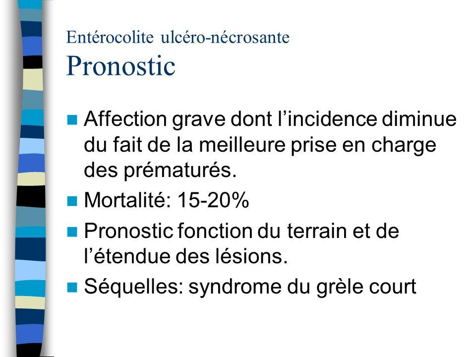 Entérocolite ulcéro-nécrosante Pronostic Affection grave dont lincidence diminue du fait de la meilleure prise en charge des prématurés. Mortalité: 15