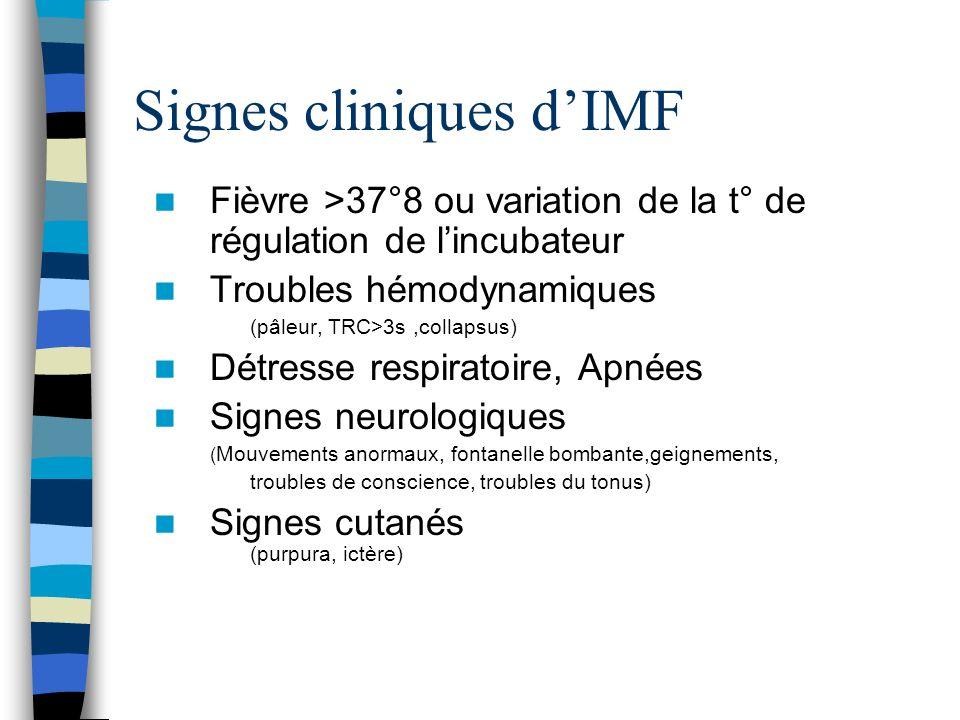 Signes cliniques dIMF Fièvre >37°8 ou variation de la t° de régulation de lincubateur Troubles hémodynamiques (pâleur, TRC>3s,collapsus) Détresse resp