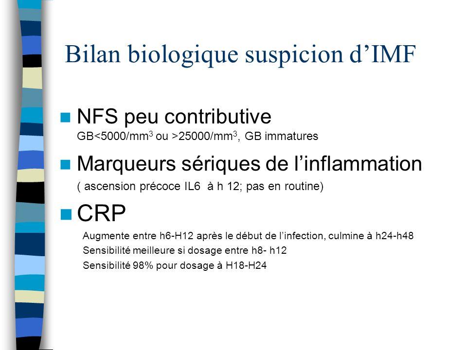 Bilan biologique suspicion dIMF NFS peu contributive GB 25000/mm 3, GB immatures Marqueurs sériques de linflammation ( ascension précoce IL6 à h 12; p