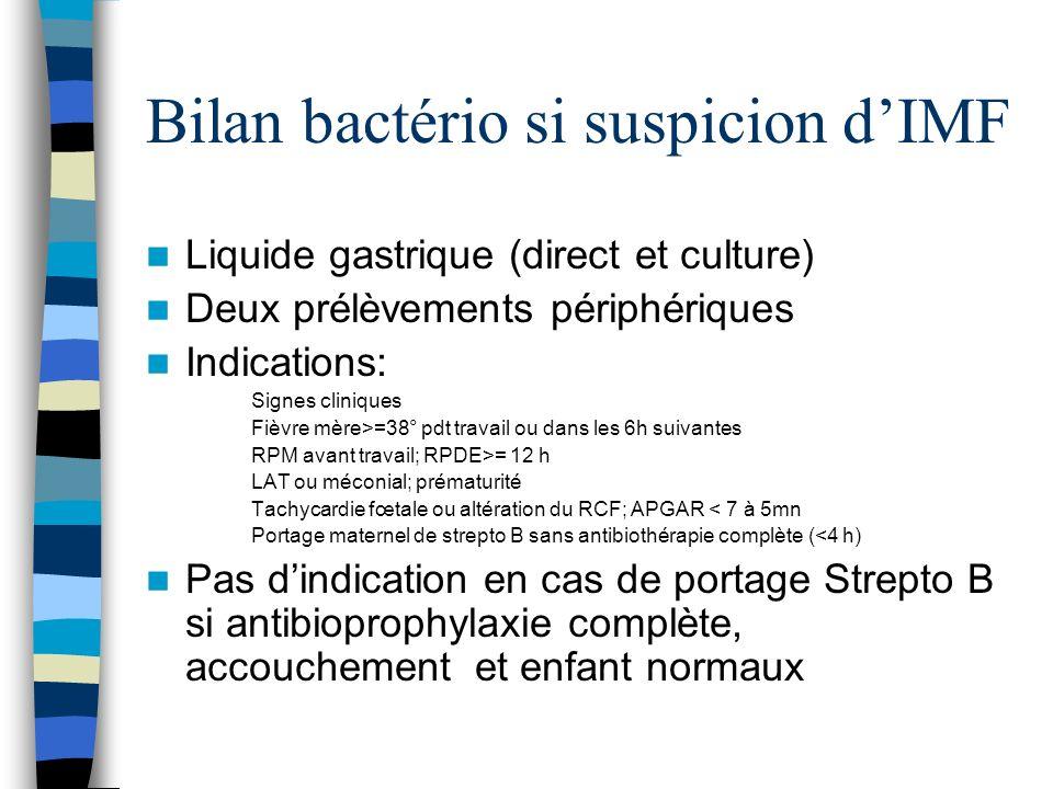 Bilan bactério si suspicion dIMF Liquide gastrique (direct et culture) Deux prélèvements périphériques Indications: Signes cliniques Fièvre mère>=38°