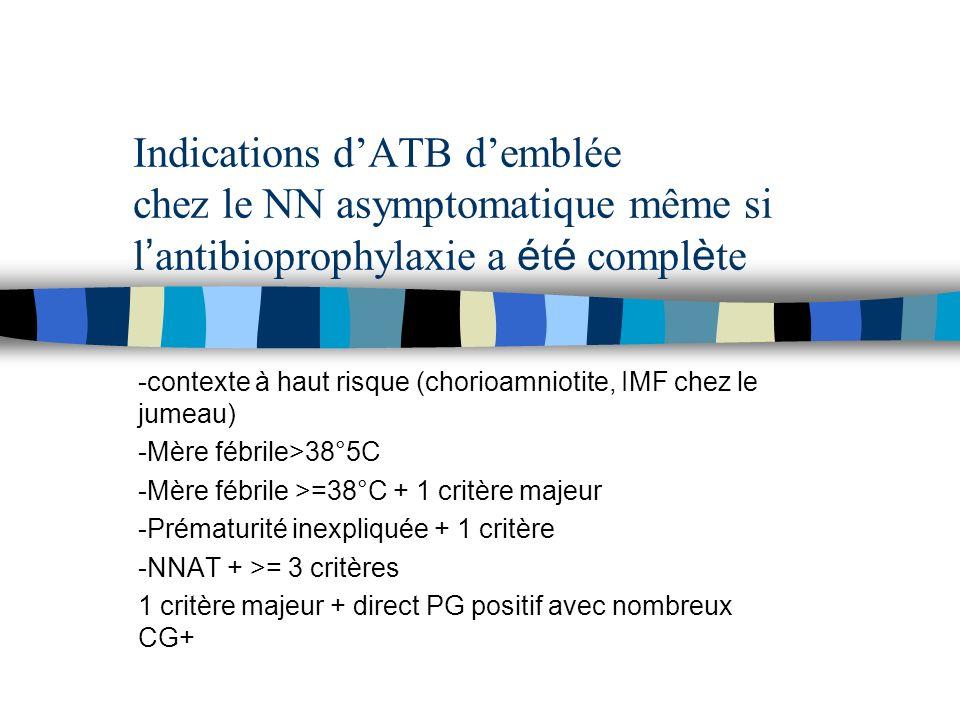 Indications dATB demblée chez le NN asymptomatique même si l antibioprophylaxie a é t é compl è te -contexte à haut risque (chorioamniotite, IMF chez
