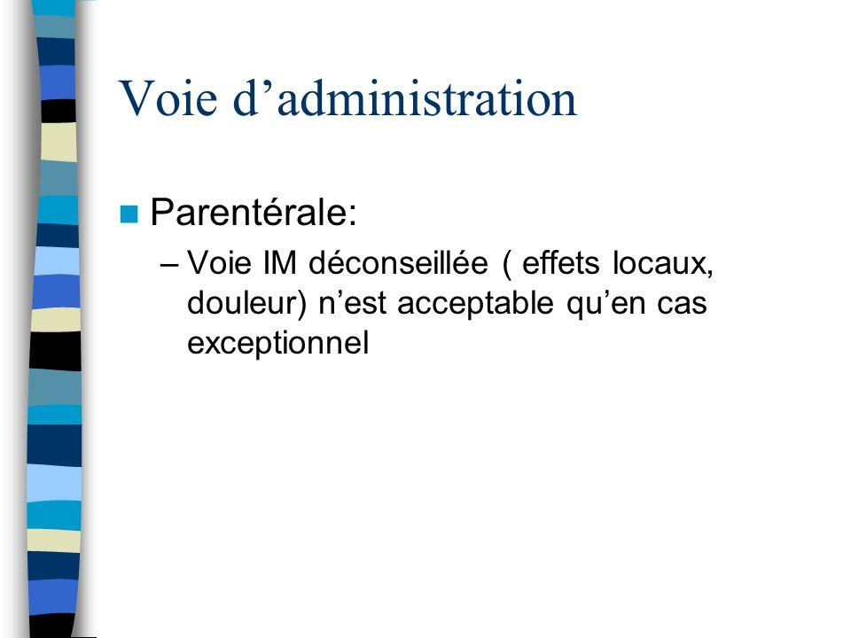 Voie dadministration Parentérale: –Voie IM déconseillée ( effets locaux, douleur) nest acceptable quen cas exceptionnel