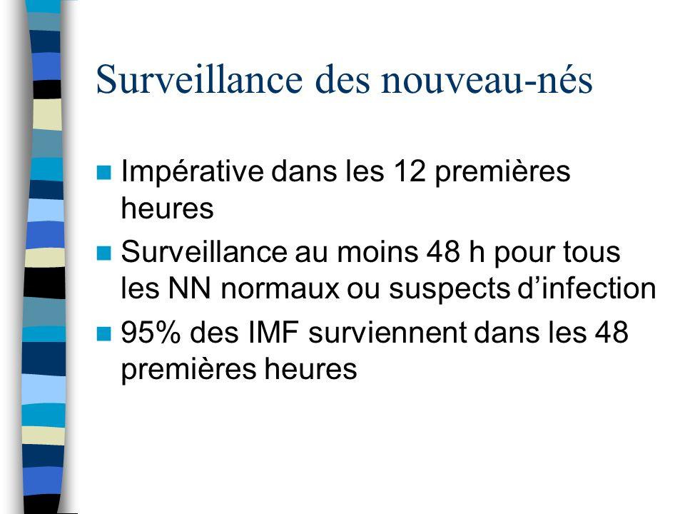 Surveillance des nouveau-nés Impérative dans les 12 premières heures Surveillance au moins 48 h pour tous les NN normaux ou suspects dinfection 95% de