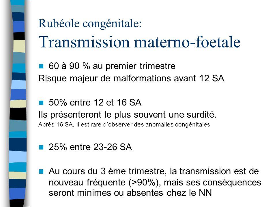 Rubéole congénitale: Transmission materno-foetale 60 à 90 % au premier trimestre Risque majeur de malformations avant 12 SA 50% entre 12 et 16 SA Ils