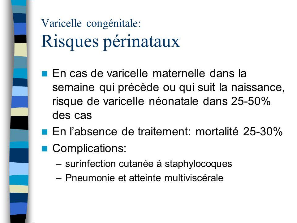 Varicelle congénitale: Risques périnataux En cas de varicelle maternelle dans la semaine qui précède ou qui suit la naissance, risque de varicelle néo