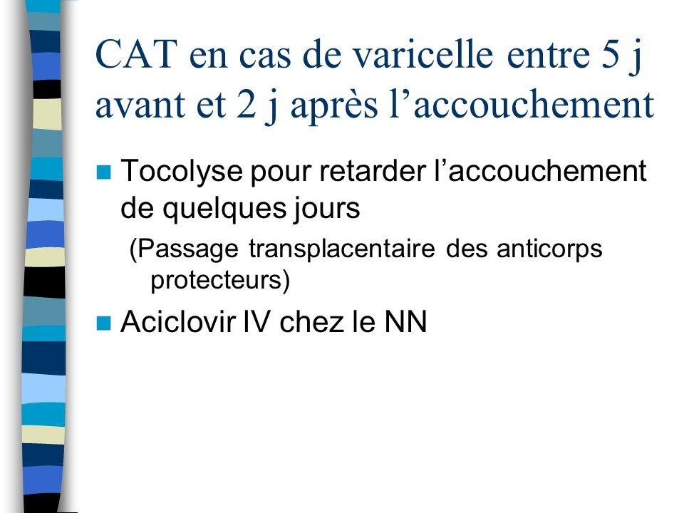 CAT en cas de varicelle entre 5 j avant et 2 j après laccouchement Tocolyse pour retarder laccouchement de quelques jours (Passage transplacentaire de