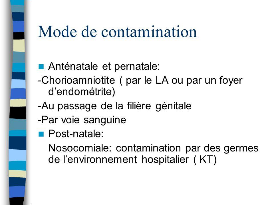 Mode de contamination Anténatale et pernatale: -Chorioamniotite ( par le LA ou par un foyer dendométrite) -Au passage de la filière génitale -Par voie