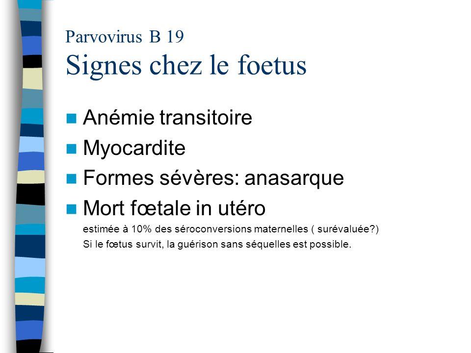Parvovirus B 19 Signes chez le foetus Anémie transitoire Myocardite Formes sévères: anasarque Mort fœtale in utéro estimée à 10% des séroconversions m