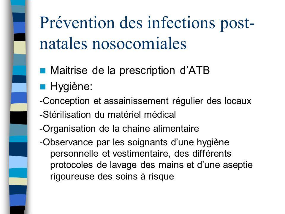 Prévention des infections post- natales nosocomiales Maitrise de la prescription dATB Hygiène: -Conception et assainissement régulier des locaux -Stér