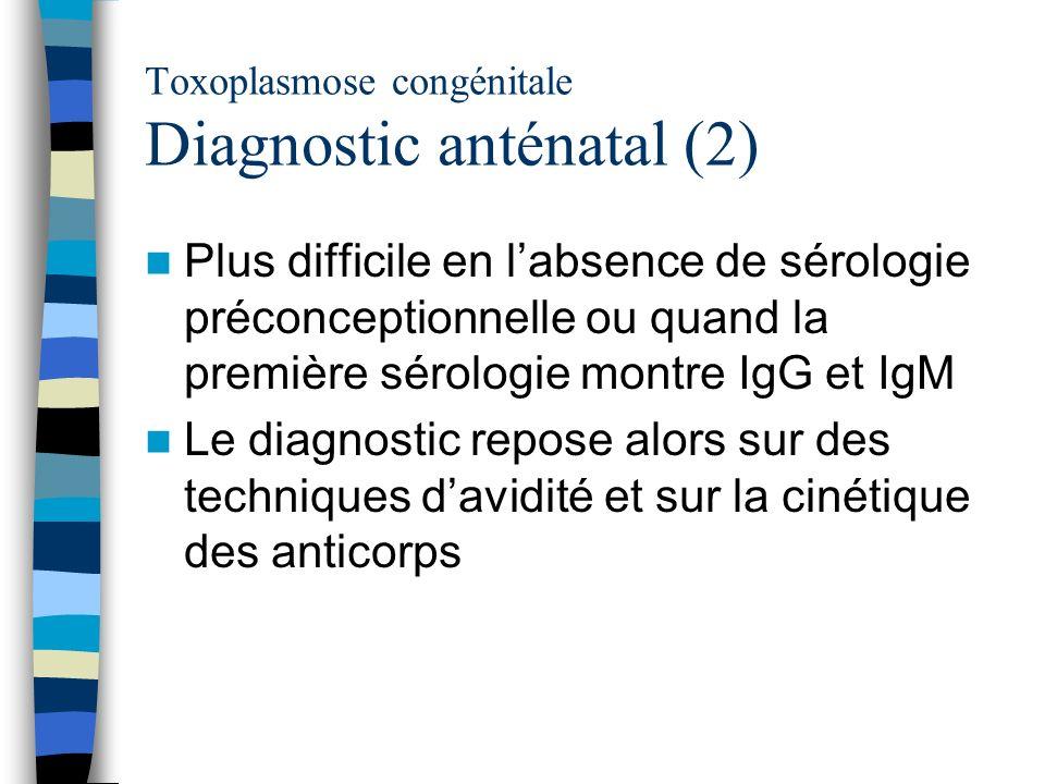 Toxoplasmose congénitale Diagnostic anténatal (2) Plus difficile en labsence de sérologie préconceptionnelle ou quand la première sérologie montre IgG