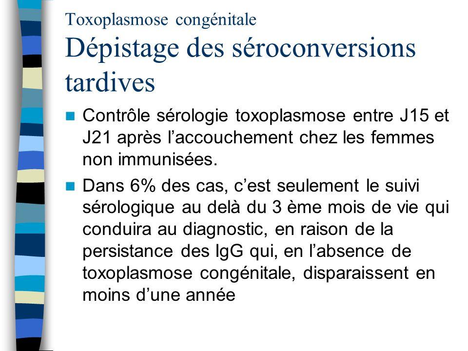 Toxoplasmose congénitale Dépistage des séroconversions tardives Contrôle sérologie toxoplasmose entre J15 et J21 après laccouchement chez les femmes n