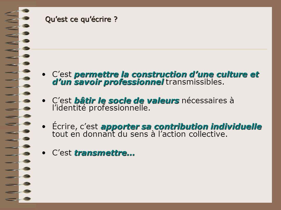 permettre la construction dune culture et dun savoir professionnelCest permettre la construction dune culture et dun savoir professionnel transmissibl