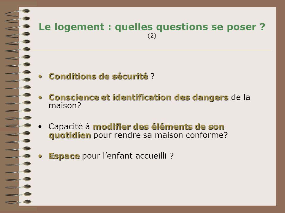 Le logement : quelles questions se poser ? (2) Conditions de sécuritéConditions de sécurité ? Conscience et identification des dangersConscience et id