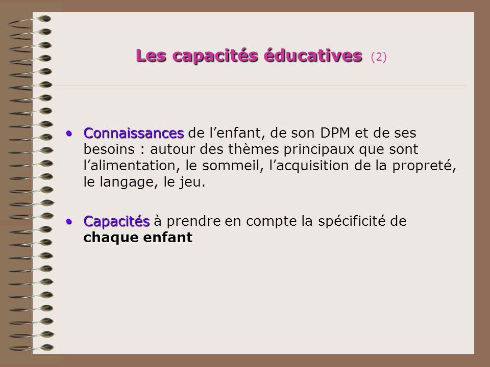 Les capacités éducatives Les capacités éducatives (2) ConnaissancesConnaissances de lenfant, de son DPM et de ses besoins : autour des thèmes principa
