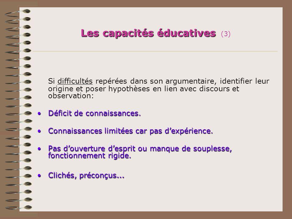 Les capacités éducatives Les capacités éducatives (3) Si difficultés repérées dans son argumentaire, identifier leur origine et poser hypothèses en li
