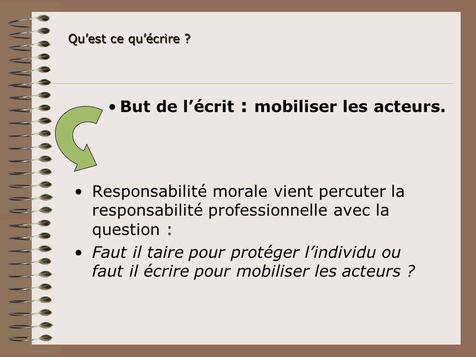 Quest ce quécrire ? But de lécrit : mobiliser les acteurs. Responsabilité morale vient percuter la responsabilité professionnelle avec la question : F