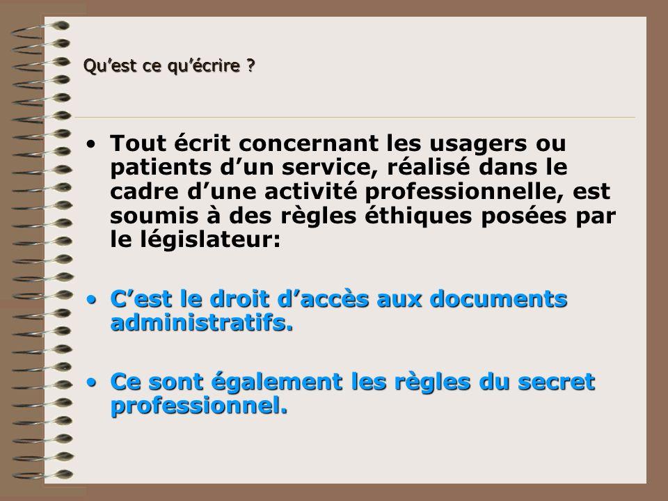 Tout écrit concernant les usagers ou patients dun service, réalisé dans le cadre dune activité professionnelle, est soumis à des règles éthiques posée