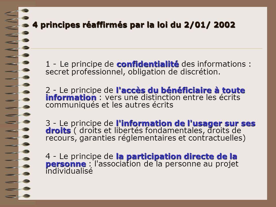 4 principes réaffirmés par la loi du 2/01/ 2002 confidentialité 1 - Le principe de confidentialité des informations : secret professionnel, obligation