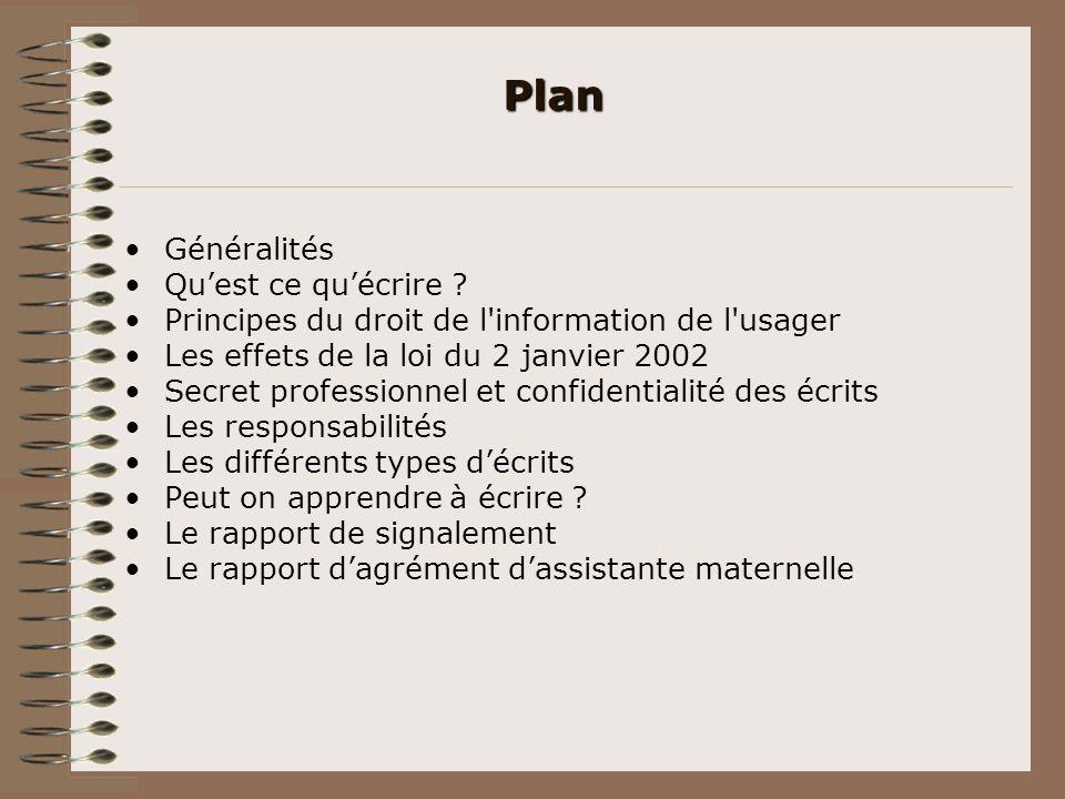 Plan Généralités Quest ce quécrire ? Principes du droit de l'information de l'usager Les effets de la loi du 2 janvier 2002 Secret professionnel et co