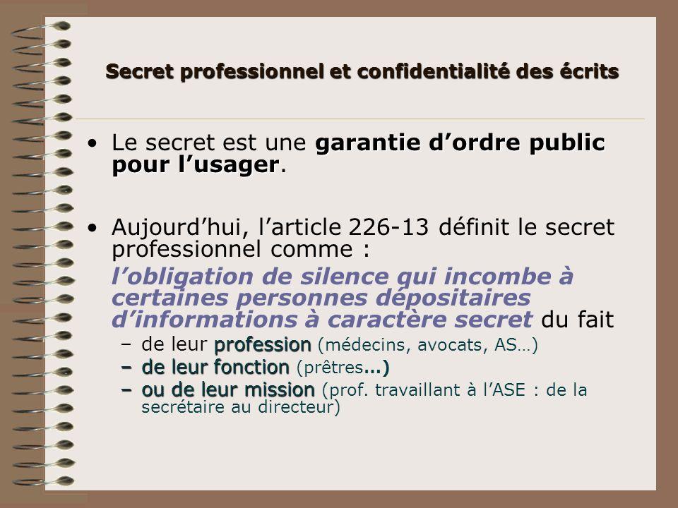 garantie dordre public pour lusagerLe secret est une garantie dordre public pour lusager. Aujourdhui, larticle 226-13 définit le secret professionnel