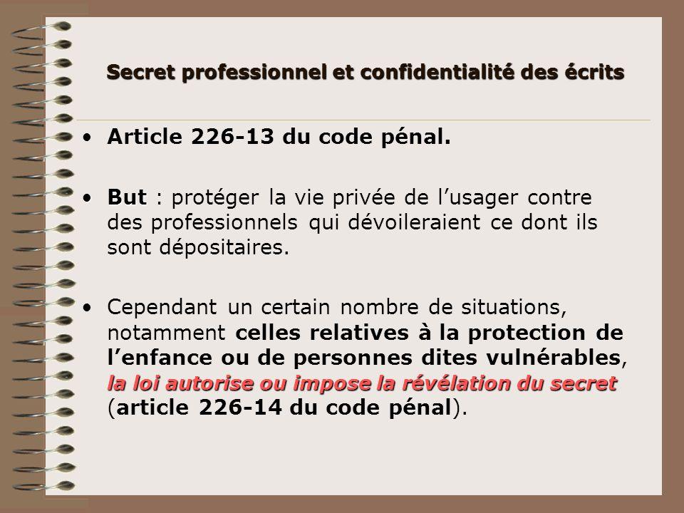 Article 226-13 du code pénal. ButBut : protéger la vie privée de lusager contre des professionnels qui dévoileraient ce dont ils sont dépositaires. la