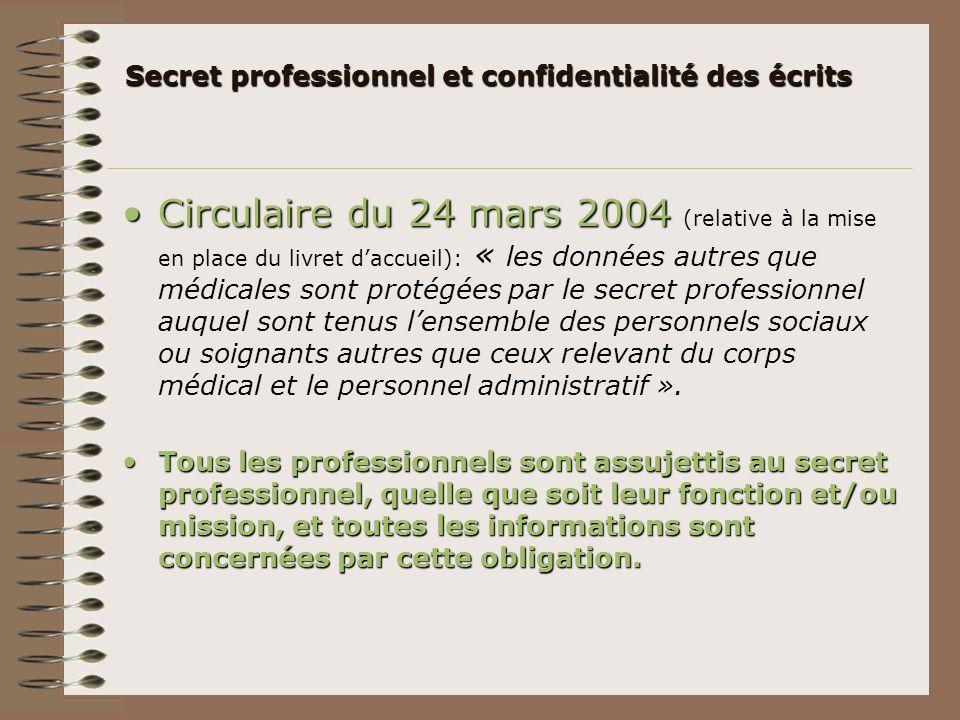 Secret professionnel et confidentialité des écrits Circulaire du 24 mars 2004Circulaire du 24 mars 2004 (relative à la mise en place du livret daccuei