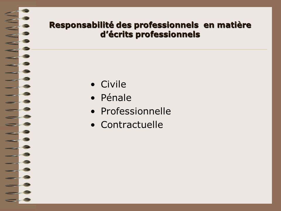 Responsabilité des professionnels en matière décrits professionnels Civile Pénale Professionnelle Contractuelle