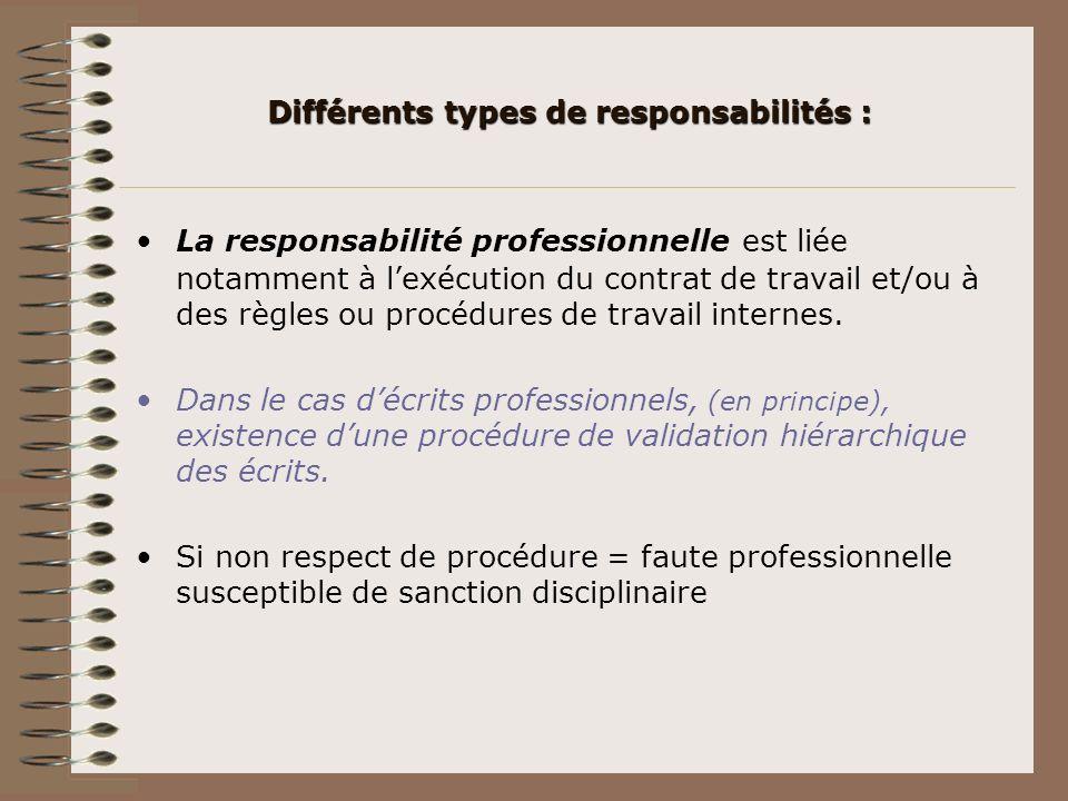 Différents types de responsabilités : La responsabilité professionnelle est liée notamment à lexécution du contrat de travail et/ou à des règles ou pr