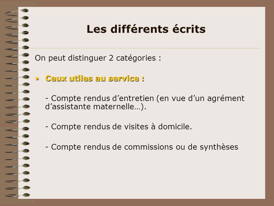 Les différents écrits On peut distinguer 2 catégories : Ceux utiles au service :Ceux utiles au service : - Compte rendus dentretien (en vue dun agréme